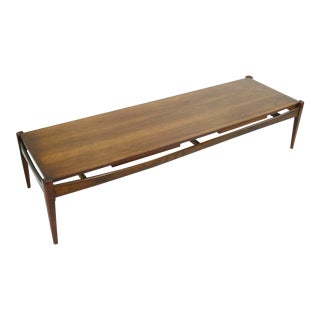 Mid-Century Modern Bassett Surfboard Coffee Table With Sliding Tray Tables