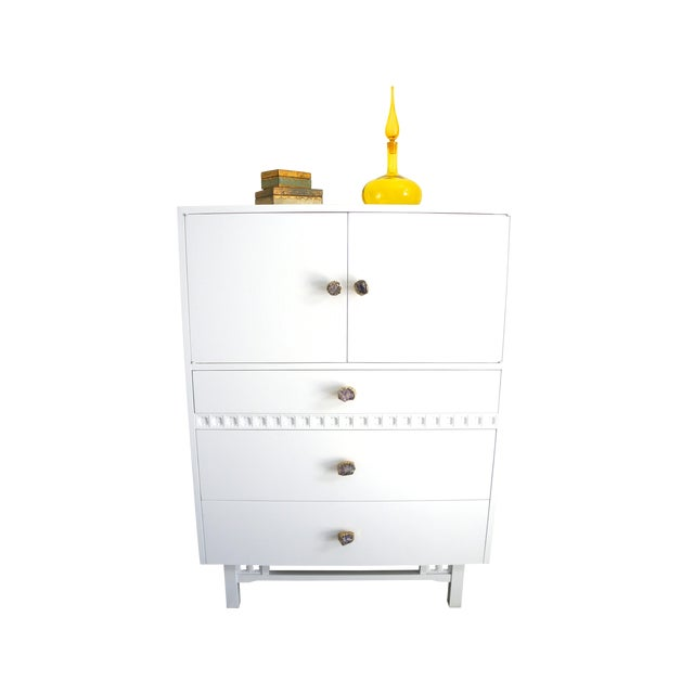 Mid-Century White Crystal Stone Pull Cabinet - Image 5 of 11