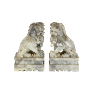 Grey Marble Foo Dogs - A Pair