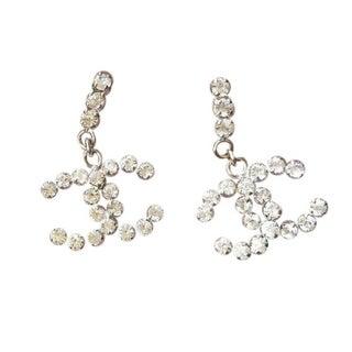 Chanel CC Crystal Rhinestone Pierced Earrings