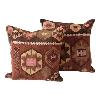 Brown Turkish Kilim Cushions - A Pair