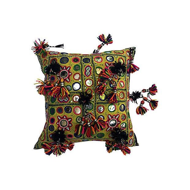 Mirrored Indian Gypsy Yellow Pillow with Tassels - Image 1 of 7