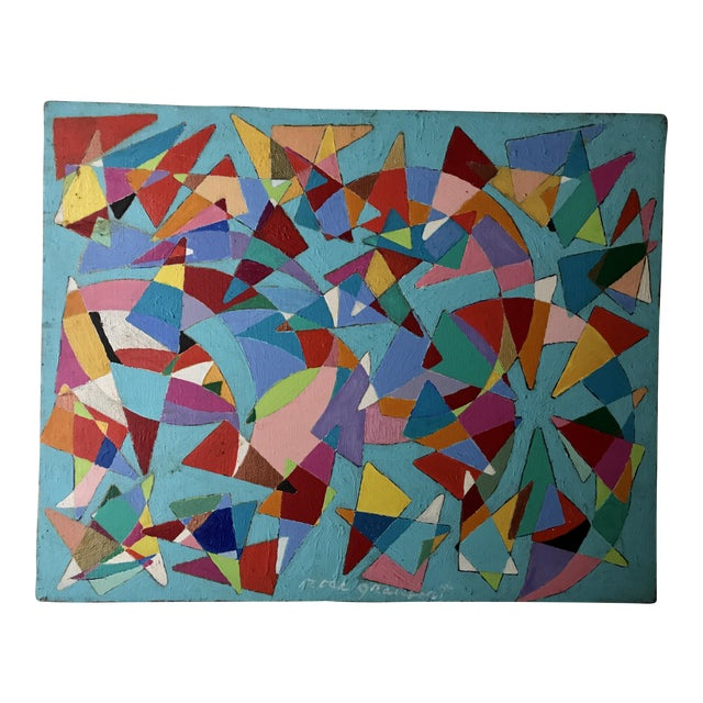 Vintage Geometric Abstract Painting #42 - Image 1 of 6