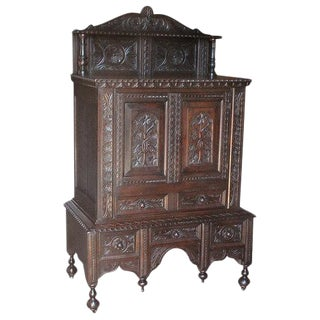 Cabinet with Two Doors over Drawers