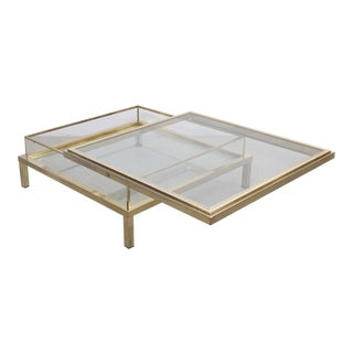 Maison Jansen Sliding Top Coffee Table Complete in Brass