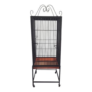 Vintage Black Wrought Iron Birdcage