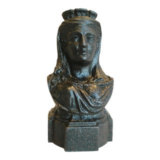 19th Century French Cast Iron Lady Bust Fragment
