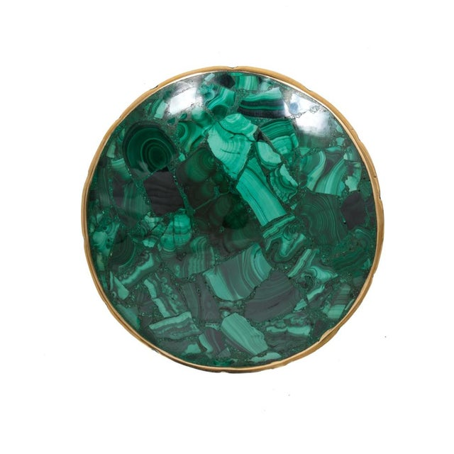 Medum Round Malachite Bowl - Image 1 of 2