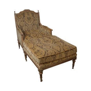 Lillian August Drexel French Louis XVI Style Bergere Chair w/ Ottoman