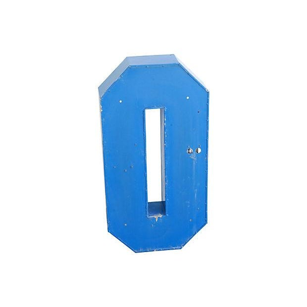 Image of Industrial Blue & White Metal Marquee Letter O