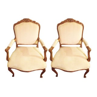 Louis XIV Chairs in White Velvet - A Pair