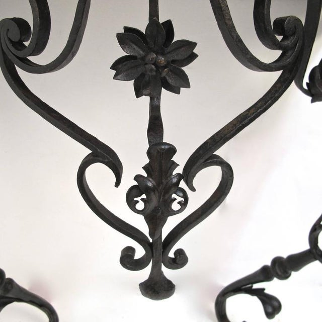 19th Century French Wrought Iron and Marble Console Table - Image 6 of 8