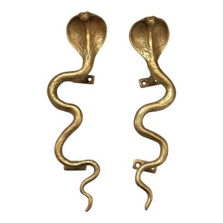 Gold Brass Cobra Door Handles- a Pair