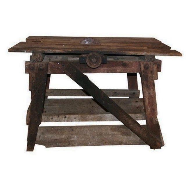 Antique Primitive Saw Table and Side Table - Image 1 of 6