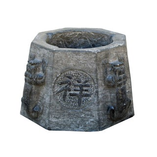 Vintage Chinese Octagon Stone Carved Garden Base