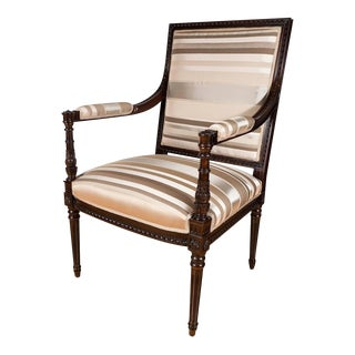 Hollywood Regency Occasional Chair in Ebonized Mahogany and Striped Silk Fabric