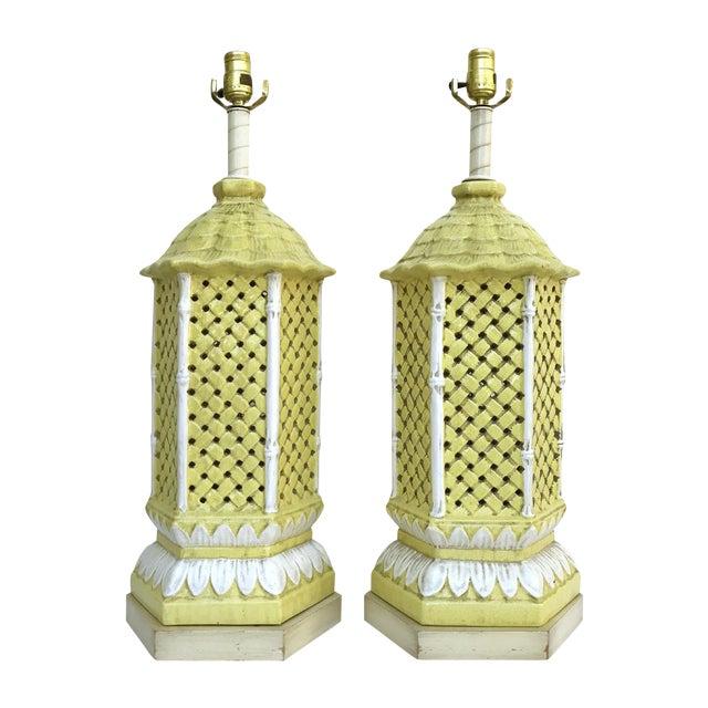 Image of Nardini Studio Pagoda Faux Bamboo Lamps - a Pair