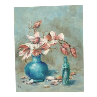 Pink Floral Still Life Oil Painting