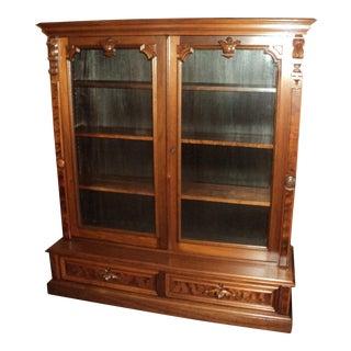 Antique Victorian Walnut 2 Door Bookcase