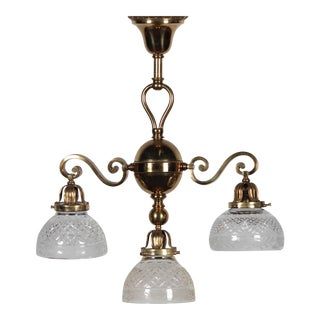 Antique Brass 3-Lamp Ceiling Fixture