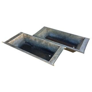 Vintage Zink Basins - A Pair