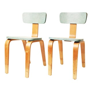 Mid-Century Modern Blue Bentwood Child's Chairs - A Pair