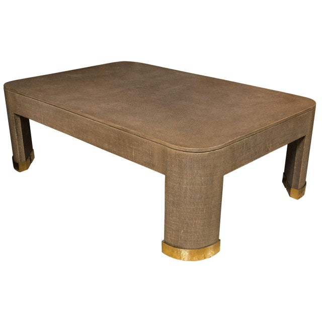 Karl Springer Style Linen Coffee Table Chairish