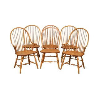 Solid Oak Set 6 Traditional Windsor Style Dining Chairs