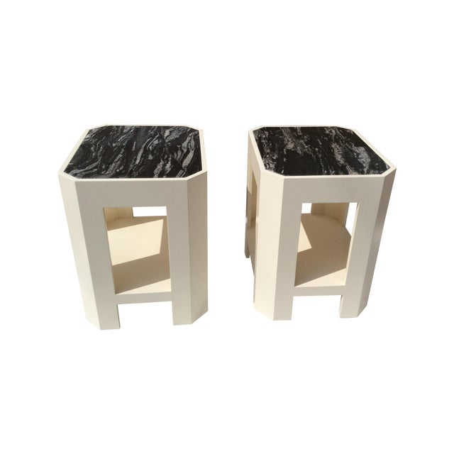Black Marble Top Side Tables - A Pair - Image 1 of 11