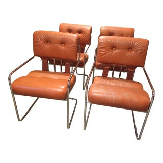 Burnt Orange Tucroma Leather and Chrome Dining Chairs in Mid Century Italian Design - Set of 4