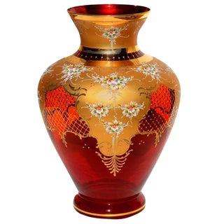 Cranberry Murano Capodimonte Gold Vase