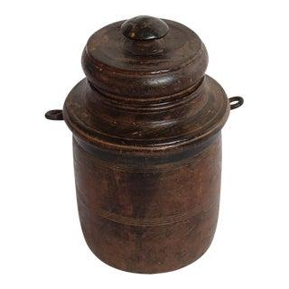 Nepal Wood Lidded Pot