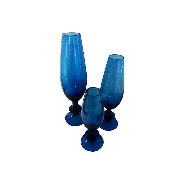 Carlo Moretti Blue Glass Goblets - Set of 3 - Image 2 of 3