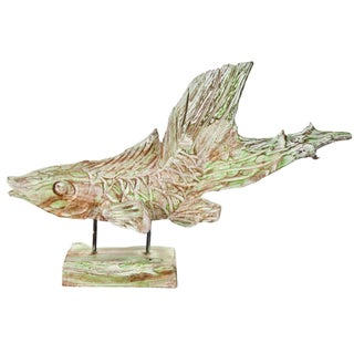 Hand-Carved Driftwood Fish On Stand