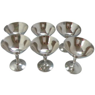Vintage Silver-Plate Champagne Coupes - Set of 6