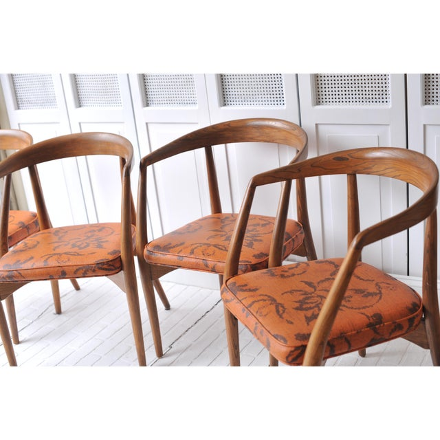 Lawrence Peabody Walnut Chairs - Set of 4 - Image 5 of 11