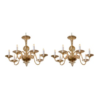 "Pair Hand-Blown Italian Murano Glass Chandeliers in the ""Moderne"" Style"
