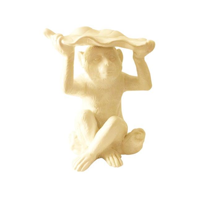 Image of White Ceramic Monkey Sculptures - Pair