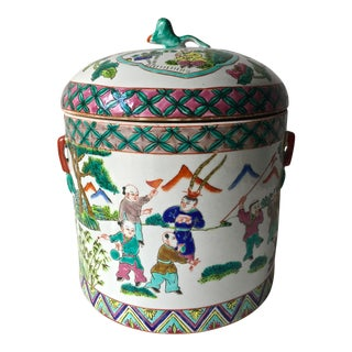 Antique Chinese Hand-Decorated Polychrome Jar-Signed