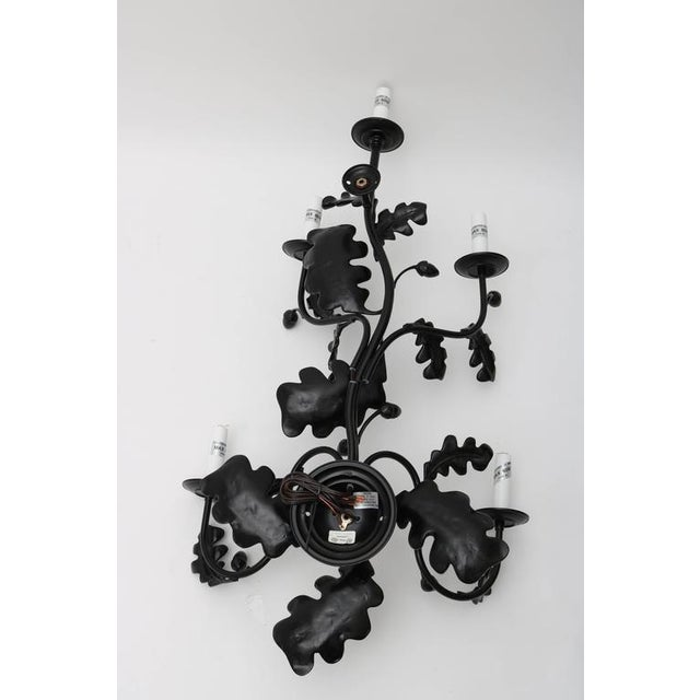 Pair of Five-Light Wall Sconces in Black with Acorn Leaf Motif - Image 9 of 9