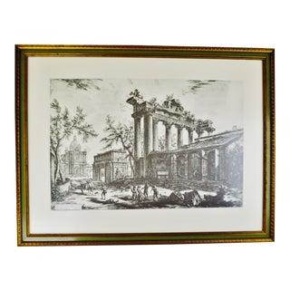 Giovanni Battista Piranesi Framed Etching Altra Veduta degli avanzi del Pronao del Tempio della Concordia