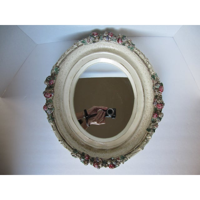 Oval Distressed Flower Mirror - Image 2 of 8