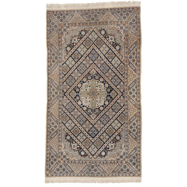 Persian Hand Knotted Nain Wool And Silk Area Rug Ebth: Hand Knotted Persian Nain Wool & Silk Rug