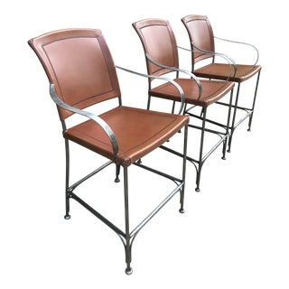 Leather and Metal Bar Stools - Set of 3