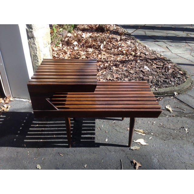 Image of Mid-Century Modern Slatted End Table