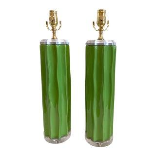 Green Ceramic Cactus Lamps - Pair