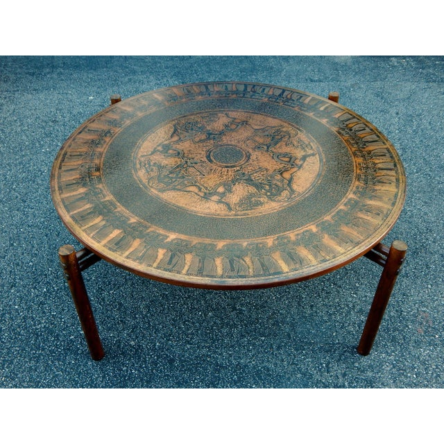 Stamped Copper Egyptian Theme Coffee Table, 1970 - Image 2 of 7