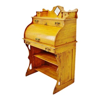 Antique Victorian Oak Roll Top Cylinder Desk