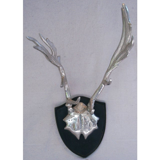 Faux Mounted Stainless Steel Deer Trophy Antlers - Image 2 of 7