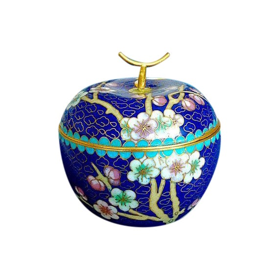 Cobalt Blue Chinese Cloisonné Apple Trinket Box - Image 1 of 3